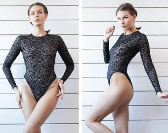 French vintage black lace semi sheer back long sleeve high leg cut leotard bodysuit blouse top S M