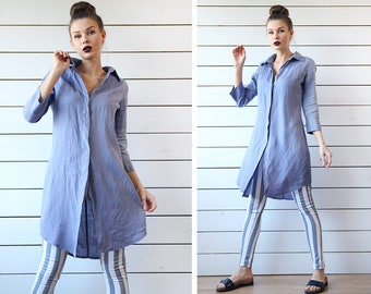 Vintage periwinkle blue pure linen elbow sleeve button down duster shirt tunic dress S
