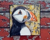"Puffin Canvas Art | Seabird Painting | Ocean Art | Beach Decor | 6x6 | ""A Fine Fellow"" 