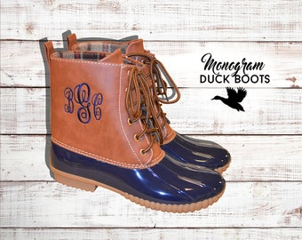 Monogram Duck Boots, Personalized Duck Boots, Winter Shoes & Boots, Monogram Ankle Boots, Black, Brown, Burgandy, Navy, Bordeaux