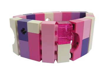 Kawaii Pink and Purple bracelet - made from LEGO (R) bricks on stretchy cords - Fairy Kei - Sweet Lolita