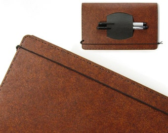 Large Heather Brown Kraft-tex Leather Alternative Cahier Cover with Pen Holder - Fits Large (5 x 8.25 inch) Moleskine Cahier Notebooklets