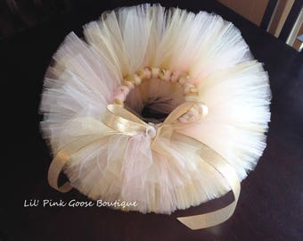 Ivory, Gold and Pink Tutu, Cake Smash Tutu, Birthday Tutu, 1st Birthday Tutu, Newborn Tutu, Newborn Photo Prop, 1st Birthday Outfit