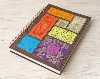 Dot Grid A5 Notebook Bohemian Soul Mixed colours / Recycled Planner / Spiral bound notebook / dot journal / dotted notebook