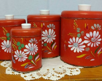 Vintage Ransburg Metal Canister Set / Floral Design / Orange - Red / Set of Four / Shabby Chic / Country Living / Eclectic / Boho / Retro