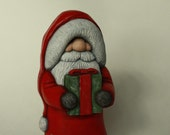 Santa Claus Wood Carving Hand Carved Collectible Christmas Decoration