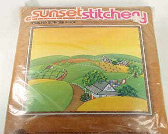 Vintage Crewel Embroidery Kit Sunset Stitchery Quilted Summer Scene