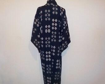 Antique kimono - Navy blue, IKAT, Unlined