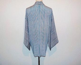 Vintage haori - Stripe with batik, Faded blue