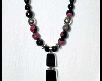 Long Necklace with Pendant-Onyx, Agate, Hematite and Sterling Silver-Black, Pink, Silver-Double hinged vintage pendant of black onyx-OOAK