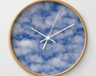 Float On, wall clock, cloudy sky, breezy, cloud clock, photography clock, blue and white, Greek color, abstract clock, cloud, Lesvos, Greece