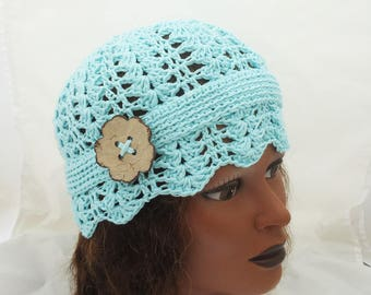 Lace Crochet Ladies Hat, Lace Hat in Blue, Crochet Woman Hat, Vintage Style Crochet Hat, Hat with Button, Crochet Summer Hat