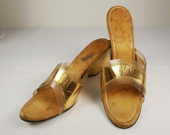IDLELIZERS Gold and Clear Wedge Heel Slides 7.5 7-1/2