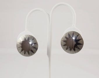 Silver Tone Starburst Button Clip On Earrings