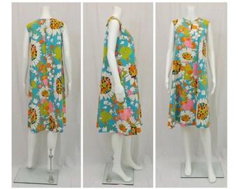 1960's Mod Print Cotton A-Line Dress US Size 10