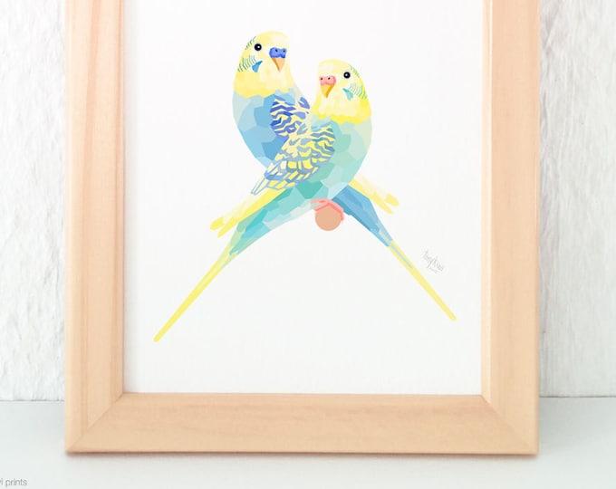 Budgie pair print, Aviary birds, Blue green budgie, Budgerigar illustration, Lovebirds, Geometric parrot, Pair of birds, Bird couple art