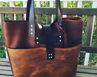 Brown Leather Tote*  Large Brown Leather Handbag* Custom Leather Bags* Soft Brown Leather Bags* Boho Bags* Soft Saddle Tote*