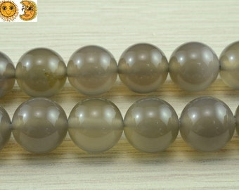15 inch strand of natural Gray Agate smooth round beads 3mm 4mm 6mm 8mm 10mm 12mm 14mm