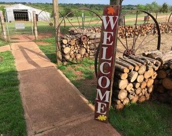 WELCOME sign on a vintage slab of barn wood, heirloom white letters on rustic red/black wood, Ready to Ship Today