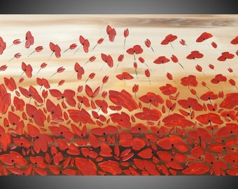 Flower Painting poppies Painting Art Floral Acrylic painting Brown Beige Red Art on canvas abstract decoration ready to hang 40x24 by ilonka