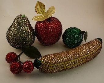 5 Vintage Sequinned Fruit -- Banana, Apple, Pear, Cherries, Lime -- Gold, Green, Red and Yellow -- Christmas Decor or Table Decoration