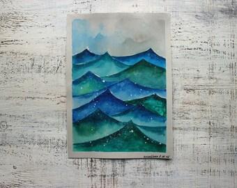 Original watercolor painting sea nautical storm cartoon wall art 7x10 seascape