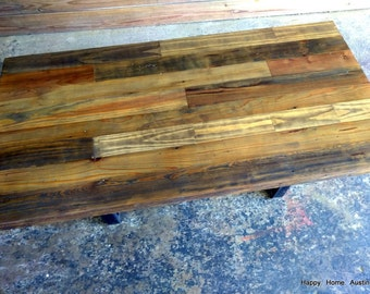 Patchwork Stained Reclaimed Salvaged Wood Coffee Table, Desk or Dining Table #22
