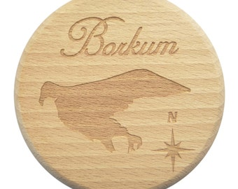 Beer glass lid Borkum beer engraving East Frisia North Sea - glass lid - Maple - engraving