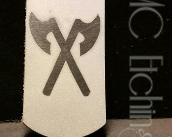 Crossed Axes etched dog tag