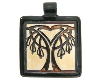 Bleeding Heart Tree 1.75 inch ( 45 mm ) Large Square Porcelain Pendant (Black)