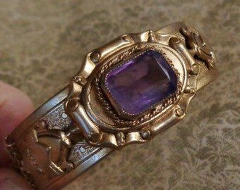 HOLIDAY SAVINGS Czech Amethyst Bracelet Victorian Revival Vintage Rhinestone Cuff Hinged Bangle