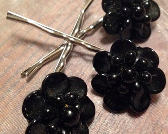 HOLIDAY SAVINGS Decorative Hair Jewelry Black West Germany Hairpins Bobby Pins, Set 3