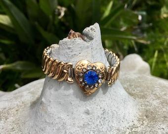Blue Heart Expansion Bracelet Victorian Revival  Vintage 1940 1950 Romantic Bridal Retro Wedding December Birthstone