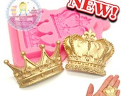 Set of 2 Crowns Silicone Mold Mould 503L Fondant Cake Cupcake Topping Sugar paste Chocolate Decoration fimo BEST QUALITY