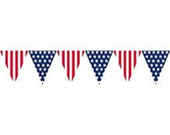 Patriotic Pennant Banner; 4th of July Decorations; Nautical Baby Shower; Military Theme banners; Beach Theme Birthday; Pennant Banner decor