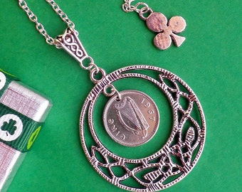 1967 irish coin 50th Birthday Necklace Celtic Circle of Life with matching Celtic scroll Bail, Ireland Threepence, SilverLayered Chain