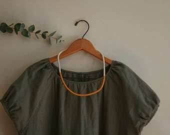 Oversized Cotton Double Gauze Short Sleeve Dress - Khaki
