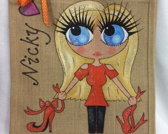 Handpainted Personalised Shoe Fanatic  Jute Handbag Gift Bag Hen Party Celebrity Style with Cat