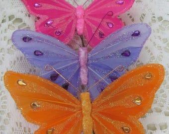 Feather Butterflies, Orange Butterflies, Pink Butterflies, Purple Butterfly, Craft Butterflies, Floral Butterfly Picks, Butterfly Picks