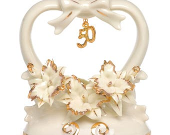 Porcelain Cake Topper for 50th Wedding Anniversary, Golden Wedding Anniversary Cake Top
