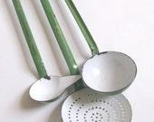 Vintage Enamel Kitchen Utensils, Green Enamel Hanging Utensils, Enamel Ladles, Enamel Skimmer, French Enamelware Utensils