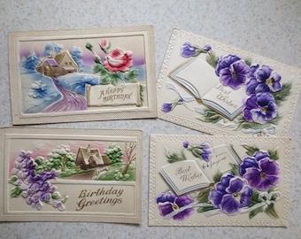 4 Beautiful Deeply Embossed Antique German Postcards - Nice Vintage Ephemera