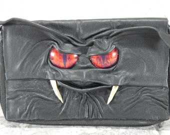 Woman's Wallet Clutch With Monster Face Zippered Organizer Black Leather Harry Potter