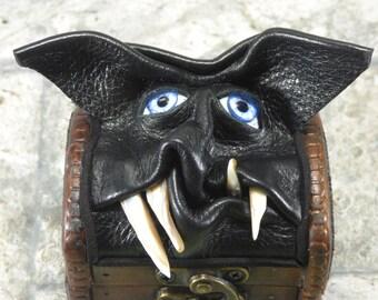 Valentine's Day Ring BoxTreasure Chest Desk Organizer Trinket Box Small Storage Stash Black Leather Harry Potter Labyrinth