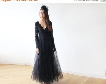 Spring Sale Black tulle and lace long sleeves gown, Tulle and lace black maxi dress 1125
