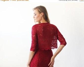 30% OFF - Blush Birthday Long sleeves Bordeaux Lace short top , Bordeaux lace top 2041
