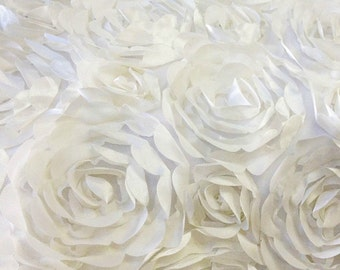 Mesh Backed Satin Petal Rosette White 54 Inch Fabric by the Yard - 1 yard