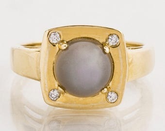 Vintage Ring - Vintage 14k Yellow Gold Grey Star Sapphire and Diamond Ring
