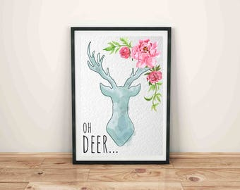 Oh deer-instant download-print-8x10-watercolor-nursery-wall art
