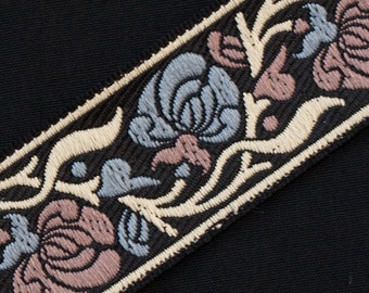 """Art Nouveau Cornflower Blue & Mauve On Black Jacquard, Ribbon 3 yards 1.25 """" wide"""